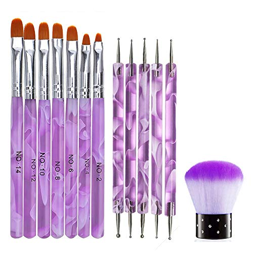 13 Stück UV-Gel Nagel Kunst Pinsel Design Set, Mwoot Malerei Polnisch Pinsel, Nagel Punktierung Stift Nail Dotting Pen,Nagel Kunst Staub Entferner pinsel