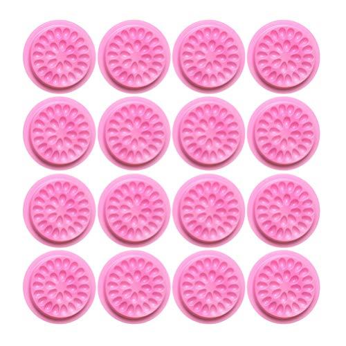 Beaupretty 20 Pcs En Plastique Colle Palette Pad Fleur En Forme De Cils Extensions Cils Joint Adhésif Pigment Titulaire Base Pour Nail Art Tatouage Encre (Rose)