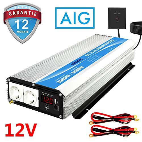 Wechselrichter 3000W 12v auf 230v Spannungswandler Power Inverter mit Fernbedienung & LED-Anzeige 2 AC Verkaufsstellen & USB-Anschluss für Wohnmobil LKW PKW Giandel