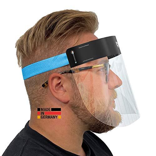 HARD 2x Pro Visier Gesichtsschutz aus Kunststoff | Face Shield mit Anti Beschlag | Gesichtsvisier | Zertifiziertes Gesichtsschild | Made in Germany | In Schwarz/Blau für Erwachsene