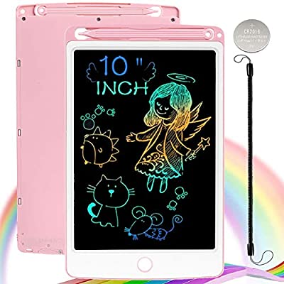 ScriMemo LCD Writing Tablet for Kids,10 Inch Colorful Drawing Tablets Kids Doodle Board Erasable Reusable Electronic Drawing Pads,Educational and Learning Toy for 3-8 Years Old Boy and Girls (Pink) from ScrimMemo