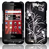 Black White Flower Hard Cover Case for ZTE Chaser Virgin VM2090
