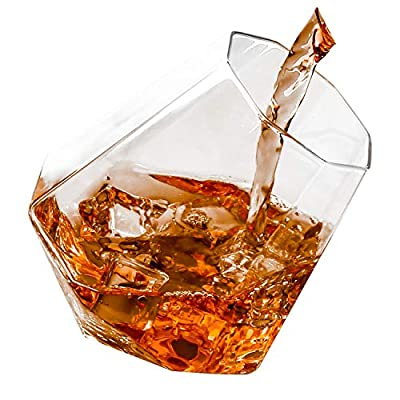 Rock glasses, Diamond Lowball Glasses Old Fashioned Glass Premium Designer Tumblers for Whisky, Bourbon, Scotch, 10-Ounces - Set of 2