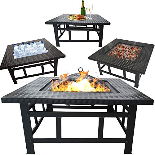 InnFinest Outdoor Fire Pit Set - Fire Bowl Heater, BBQ, Ice Pit, Outside Wood Burning - BBQ Grill Shelf, Waterproof Rain Cover - Outdoor Backyard Terrace Patio (32 Inch (Square))