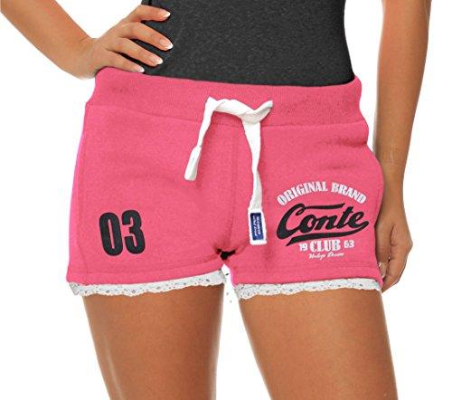 M.Conte Damen Jersey-Shorts Basic Skinni Fit Sport-Shorts/Training Retro-Shorts Kurze Damen-Hose Pants Jogginghose Sporthose Blau Neon Pink Weiss Rot S M L XL (M, Bright Pink)
