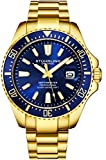 Stuhrling Original Watches for Men-Pro Diver Watch - Sports Watch for Men with Screw Down Crown for 330 Ft. of Water Resistance - Analog Dial, Quartz Movement - Mens Watches Collection (Gold)