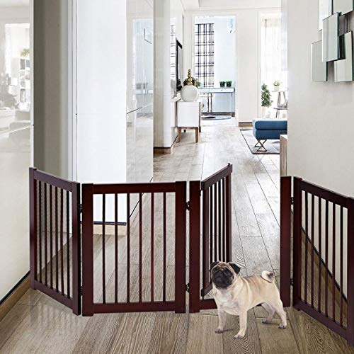 "Petsite 30"" Pet Gate with Walk Through Door & 2pcs Support Feet, Folding Wooden Pet Playpen, Indoor/Outdoor Baby Gate, Adjustable Panel Safety Gate for Corridor, Doorway, Stairs, Extra Wide 80"" W"