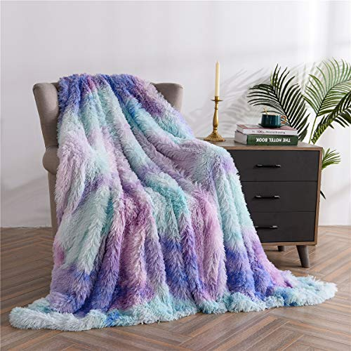 Plush Fuzzy Faux Fur Throw Blanket Soft Warm Cozy Blanket for Sofa Bed Couch for Winter (Blue-Purple, Twin(59''x79''))
