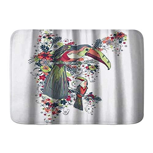ZOMOY Badematte,Comic Bird Toucan Pflanzenmuster,rutschfest Waschbar Badezimmer Teppich Weiche Hochflor Badvorleger aus