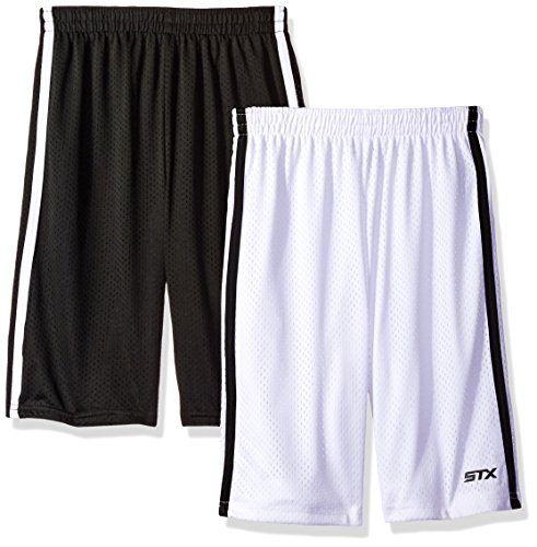 STX Big Boys Athletic Short and Packs, 2 Pack -Black/White - SI30, 10/12
