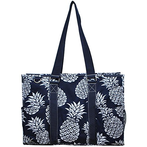 N. Gil All Purpose Organizer 18' Large Utility Tote Bag 2 (Southern Pineapple Navy Blue)