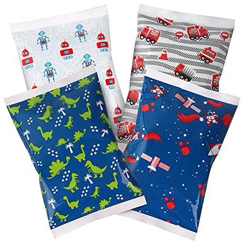 Thrive+ Ice Pack for Lunch Boxes - 4 Reusable Packs - Keeps Food Cold – Cool Print Bag Designs - Great for Kids or Adults Lunchbox and Cooler