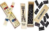 Spielesammlung aus Holz (Domino und Mikado) mit Praktischem Schiebedeckel und Spielanleitung (2er Set) -