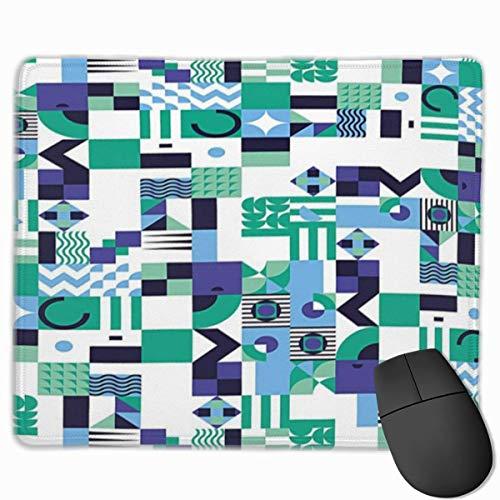 Muismat, muismat, Mid-Century, geometrisch design, moderne kunst in de jaren '60, Pop Art Shapes patroon, groen / zwart
