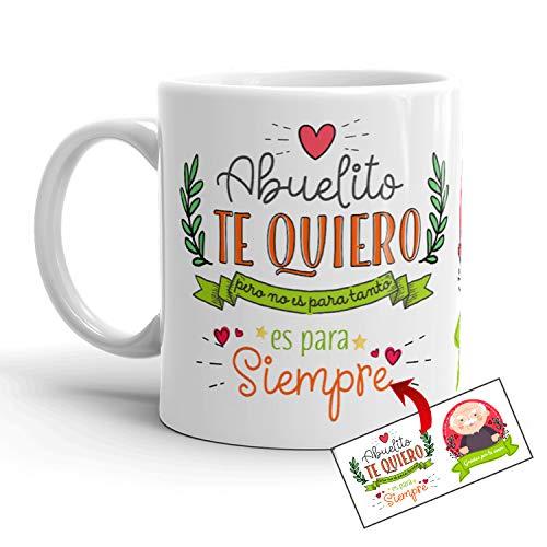 Kembilove Taza Abuelo – Tazas de Desayuno Graciosa Te Quiero Abuelito – Taza Desayuno Original el Día del Padre para Abuelos y Padres