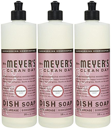 Mrs. Meyer's Clean Day Liquid Dish Soap, Rosemary, 16 Ounce Bottles, 3pk