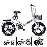 6 Velocidad Ligero Bicicleta Plegable,Absorción De Impactos Bicicleta Plegable con 3 Radios & Cesta De Hierro & Cerradura Bicicleta Portátil Adecuado para 120cm-165cm De Altura-Blanco Un