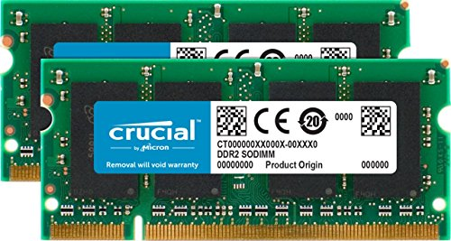 Crucial CT2KIT25664AC800 4GB Kit (2GBx2) (DDR2, 800MHz, PC2-6400, SODIMM, 200-Pin) Mémoire
