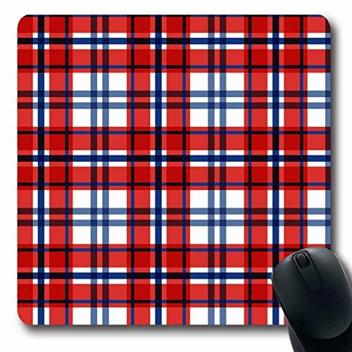 Mousepad Oblong Blue Tartan Plaid Muster Scottish Abstract Red Bettwäsche Frühstück Buffalo Check Checker Land rutschfeste Gummi Mauspad Büro Computer Laptop Spielmatte