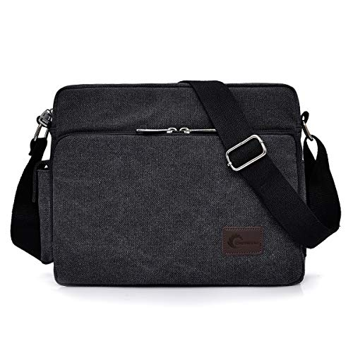 Messenger Bag, CHEREEKI Unisex Vintage Canvas Messenger Bags Casual Sling Shoulder Pack Daypack Satchel Bag for Work, School, Daily Use - 12.6'(L) x 3.9'(W) x 10.6'(H), 26 Pockets (Black)