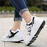 qmj Zapatos con Ruedas Patines Niños Niñas Zapatos Multiusos 2 En 1 Zapatillas Deportivas Al Aire Libre Patines En Línea Mujeres Hombres Zapatos De Skate,White single-38