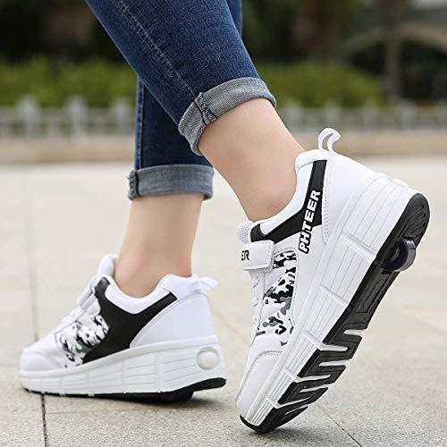 qmj Zapatos con Ruedas Patines Niños Niñas Zapatos Multiusos 2 En 1 Zapatillas Deportivas Al Aire Libre Patines En Línea Mujeres Hombres Zapatos De Skate,White single-35