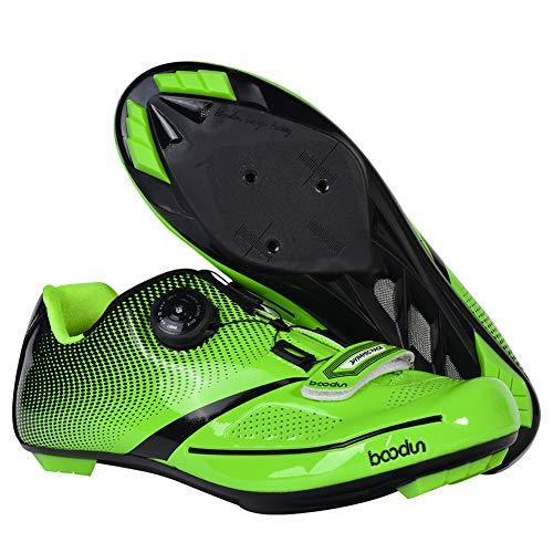 Zapatillas de Bicicleta Montaña Calzado Bicicleta Zapatos de Bicicleta Antideslizantes Transpirables para Hombres para Ciclismo Carretera de montaña 4 Colores,Green,39