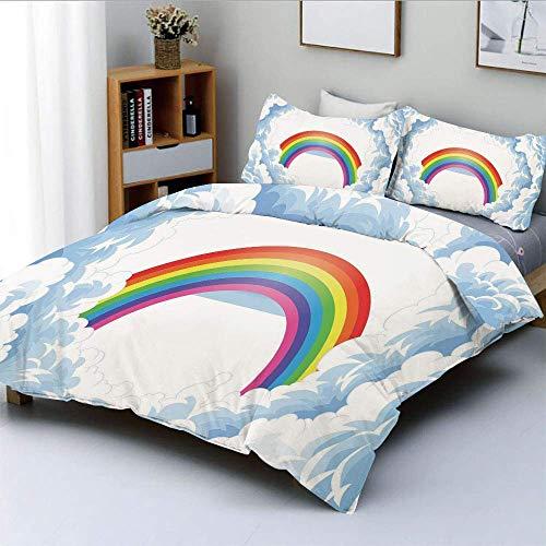 Juego de funda nórdica, arcoíris sobre nubes mullidas y románticas para niños Nursery ArtDecorative Juego de cama de 3 piezas con 2 fundas de almohada, azul bebé blanco rojo amarillo rosa, el mejor re