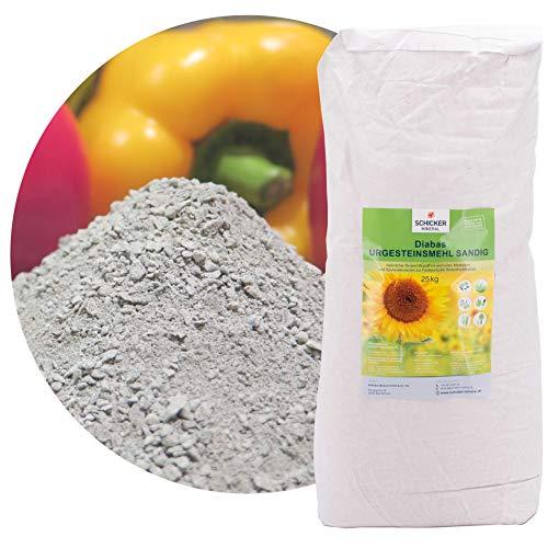 sandiges Diabas Urgesteinsmehl 25 kg von Schicker Mineral, Lava Gesteinsmehl 0-2 mm versorgt Ihren Garten und Boden natürlich mit Mineralien, 100% Naturprodukt, Bodenhilfsstoff Fibl gelistet