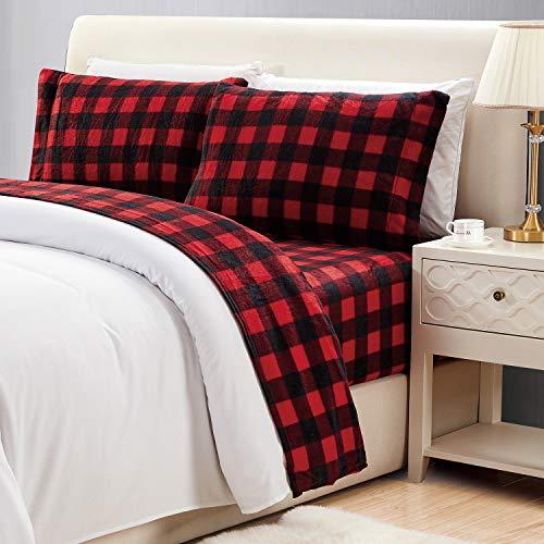 Viviland Plush Micro Fleece Bed Sheet Set, Extra Warm Polar Fleece 4 Pcs Winter Bed Sheets, with Deep Pocket, Rdbuch, Queen