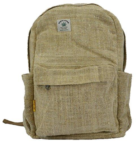 Himalayan Natural Plain Hemp Canvas Backpack -School Bag 100% Pure Hemp Backpack Handmade Nepal Fashion Cute Travel School College Shoulder Bag/Bookbags/Daypack