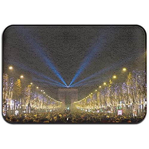 qinzuisp Alfombra de Entrada París Arco de Triunfo, Vista Nocturna, para Interiores y Exteriores, de Goma, para Porche, baño, Puerta Delantera, Garaje, casa, 40 x 60 cm