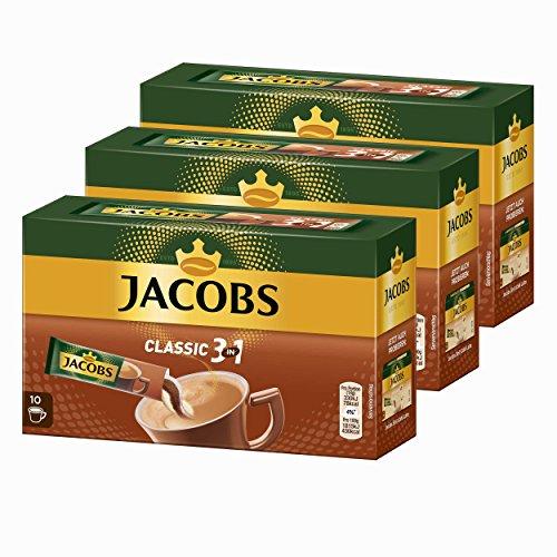 Jacobs 3in1 löslicher Kaffee, Instantkaffee, 3er Pack, 3 x 10 Becherportionen