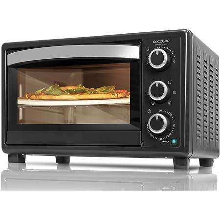 Cecotec Horno Sobremesa con piedra para pizza Bake&Toast 570 4Pizza. 1500 W, Horno eléctrico multifunción de sobremesa, Cocina por convección, Luz ...
