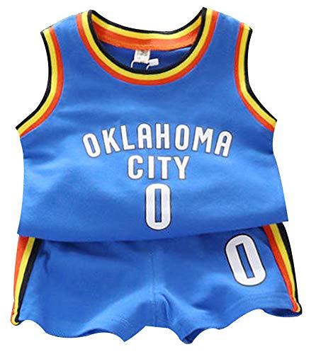 Kinder Kobe Basketball Trikot Kobe Bryant # 24 | Stephen Curry # 30 | Dwyane Wade # 3 | Russell Westbrook # 0 | Jungen Mädchen Top + Shorts Training Set-Blue-M