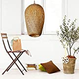 CraftThink Bamboo Hanging Lamp Pendant Light Ceiling Fixture Close to Ceiling Lights Wooden Ceiling Lamp with Adjustable for Living Room Bedroom Kids Room Kitchen Lighting- 10inch(25cm)