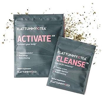 Flat Tummy 2-Step Detox Tea – 4 Week Program – Detox Tea to Boost Energy Speed Metabolism Reduce Bloating* - All Natural Detox Tea Cleanse w/ Green Tea Dandelion Fennel & More