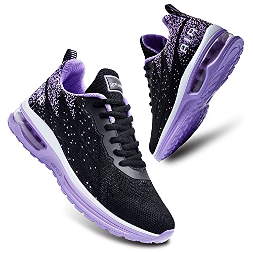 JARLIF Zapatillas deportivas ligeras para correr para mujer, transpirables, para deporte, fitness, gimnasio, correr, (talla 5.5-11), morado (Púrpura/Ombre Force.), 43 EU
