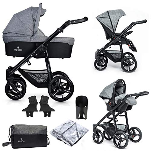 Venicci Soft Vento 3-in-1 Travel System (9 Piece Bundle) – Denim Grey/Black - with Carrycot + Car Seat + Changing Bag + Footmuff + Raincover + 5-Point Harness and UV 50+ Fabric + Car Seat Adapters