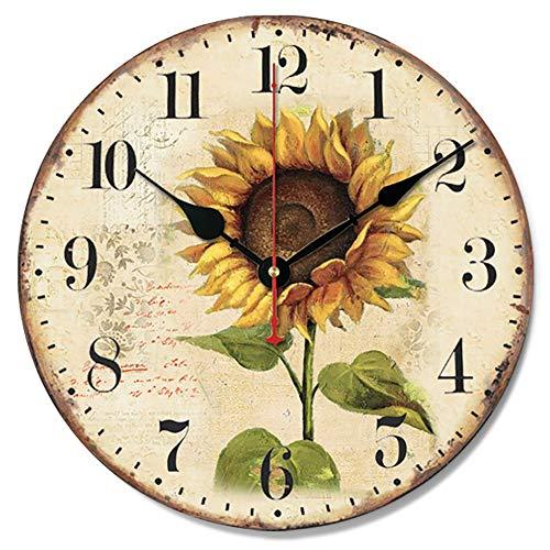 Reloj de Pared Redondo clásico de Girasol Amarillo Reloj silencioso de Madera sin Tic-TAC 12 Pulgadas Estilo de casa de Campo Casa Café Casa de postres Art Deco
