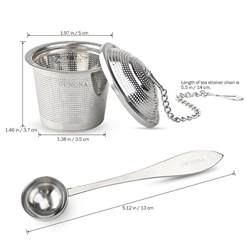 OUNONA Tee-ei Sieb Tee Rostfreier Stahl (2 Stück) mit Tee-Scoop und Auffangwannen - 4