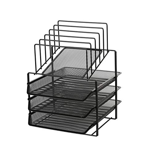 Exerz Bandejas de 3 capas de alambre con 5 separadores de malla/Bandeja oficina/Clasificador de papel/escritorio organizador/Bandeja Portadocumentos - Negro
