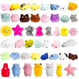 WATINC 40Pcs Mochi Squeeze Toy, Cat Squeeze Toys for Mochi Party Favors, Birthday Gifts for Boys & Girls, Mini Cute Animal Squeeze Toys, Kawaii Stress Relief Toys, Goodie Bags Egg Fillers, Party Favor