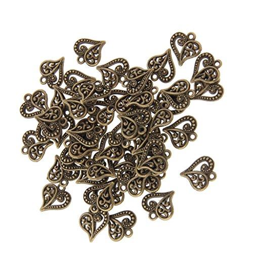 50x Antike Handwerk Herz DIY Charme Schmuck Erkenntnisse Anhänger Perlen Bronze
