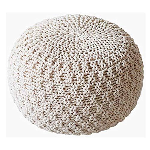 SCJ Taburete Grande de Punto 100% algodón Taburete de pie Redondo de Punto Grueso de 3 tamaños, A, 50 * 50 * 35 CM