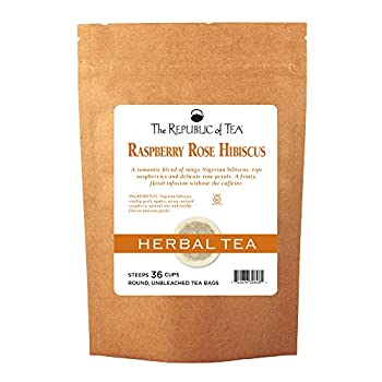 The Republic Of Tea Raspberry Rose Hibiscus Tea Caffeine-Free Herbal 36 Tea Bag Refill