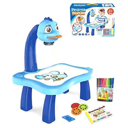 HHYSPA Kinder Zeichnung Projektor, Kinder intelligente Projektion Malerei Maschine, Aufklärung frühe Bildung intelligente Malerei Maschine Zeichnung Skizzenbrett, Lernen Schreibtisch Blue