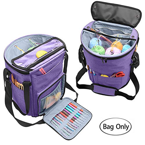 Teamoy Knitting Tote Bag, Yarn Storage Organizer with Inner Dividers for Yarn, Unfinished Projects, Crochet Hooks, Knitting Needles and Other Supplies, High Capacity, Well Designed, Purple