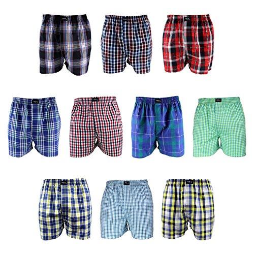 MG-1 10 Stück Webboxer Boxershorts Shorts Boxer Jungen Kinder desortierter Farbmix, Farbe:Mehrfarbig, Grösse:152