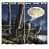 HommomH 54 x 84 inch Curtains (2 Panel) Grommet Top Darkening Blackout Room Wolf Moon